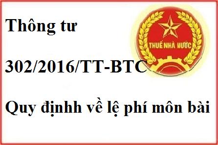 Thông tư 302/2016/TT-BTC
